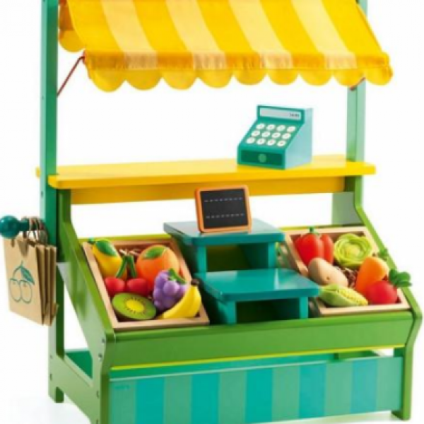Be a shopkeeper with this wooden market stall. Comes with food, bags, register!