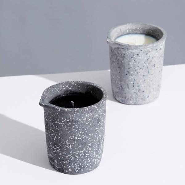 We love the new Terrazzo Beaker Candles: Burnt Oakmoss & Amber Teakwood